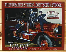 Three Stooges Vintage Fire Truck Tin Sign funny metal poster bar wall decor 1081