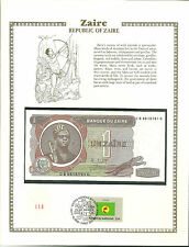 1 un Zaire 1981 MINT Uncirculated Banknote WORLD CURRENCY COLLECTION Stamp