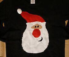 Santa Claws Christmas Cute Smiley Black Sweater T Shirt Women's L New