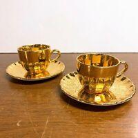 Vintage Cardinal China Lady Hamilton 22K Gold Pair of Tea Cups and Saucers