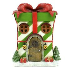 LED Lighted Green Christmas Present Fairy Garden House Holiday Home Decor Gift