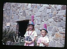 1966 amateur 35mm photo slide Universal Studios Los Angeles CA Young Girls Fan