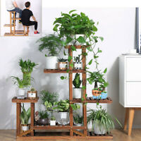 Wood 5 Tier 11 Pot Plant Stand Flower Shelf Rack Wrought Holder Indoor Garden US