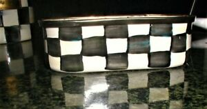 Rare retired Mackenzie Childs Courtly Check enamel tub container