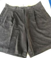 Tommy Bahama 100 % Silk Womans Size 10 W/ Pleats Dress Shorts Black