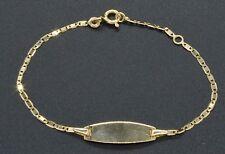 """BM11 14K Yellow Solid Gold 6"""" ID Bracelet For Children"""