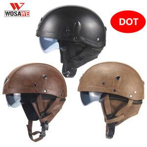 DOT German Leather Half Face Motorcycle Helmet Black MTB Bike Chopper Cruiser