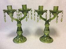 Paire de chandeliers en verre moulé vert circa 1870 France