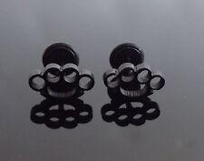 Brass Knuckle Black Stud PAIR Ear Ring Earrings Biker Punk