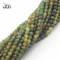 Jewelry Making Craft 6mm Round Gemstone Green Crackle Agate Beads Strand 15""