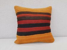 Orange Turkish Kilim Pillowcase, Couch Throw Pillow Interior Decoration Cushion