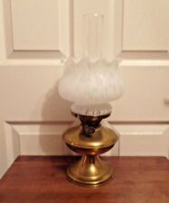 Small Vintage brass oil lamp with pretty white mottled shade working order
