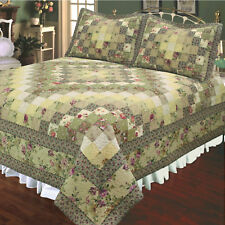 TRIP AROUND the WORLD  3p Full Queen QUILT SET : COUNTRY GREEN ROSE VINTAGE FARM