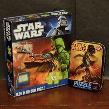 """Star Wars lot 2 puzzles Glow in the Dark Boba Fett 10X9"""" & Metal tin puzzle 5X7"""""""
