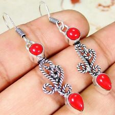 Red Coral & 925 Silver Handmade Fashionable Earrings 50mm & GIFT-BOX