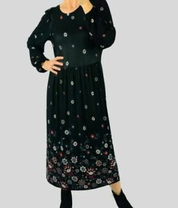 Womens Black Floral Stretch Jersey Marina Kaneva Long Sleeve Midi Dress 10-20