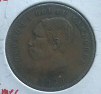 1860 Cambodia 10 Centimes - Scarce Copper