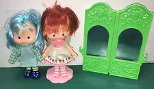 Strawberry Shortcake 1979 American Greetings Dolls + 1983 Agc Mirror ~ Stand