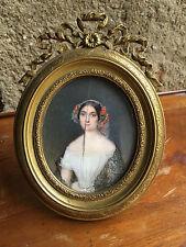 Cadre Bronze doré Signé Alphonse Giroux Miniature Signée XIX vers 1850