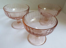 3 Hazel Atlas Pink Depression Glass Footed Sherbet Bowl Dish Pear Cherry Grape