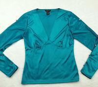 MODA International Women's Size Small V-Neck Blouse Shiny Teal Button Sleeve