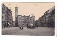 uralte AK Zittau Marktplatz Marktstand Straßenbahnschienen Turm Žitawa //18