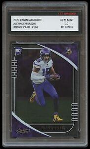 JUSTIN JEFFERSON 2020 PANINI ABSOLUTE 1ST GRADED 10 NFL ROOKIE CARD RC VIKINGS