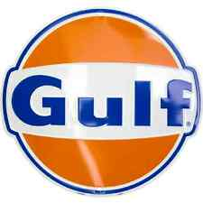 Gulf Die Cut Embossed Metal Circular Sign Gas and Oil Ad