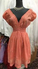 KARMA HIGHWAY 100% Cotton Orange and beige EMBROIDERY Dress ~ Women's ONE SIZE