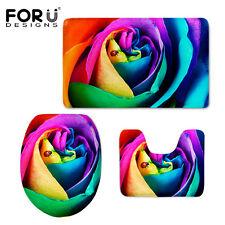 Colorful Rose Toilet Mats Covers Pedestal Rug Bathroom Shower Carpet 3pcs/set