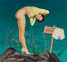 "Vintage Pin Up Art No Swimming 12 x 12""  Photo Print"