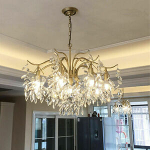 HOT LED Crystal Chandelier Branch Ceiling Light Living Room Gold Pendant Lamp