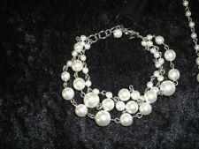 "Silver Faux Pearl Bracelet New Premier Designs Jewelry Lady Fair 6.75""-7.75"""