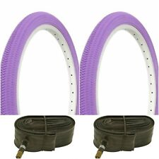 "Two PURPLE 20x1.95"" BIKE BICYCLE TRAILER JOGGER TIRES & TUBES BMX"