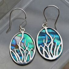 925 Sterling Silver Earring with Natural Blue Abalone Sea Shell on Plastic Resin