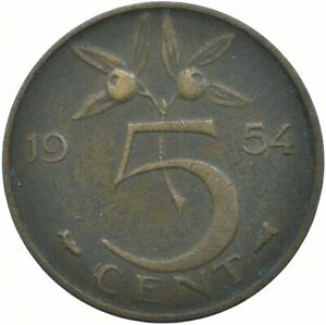 COIN / THE NETHERLANDS / 5 CENTS 1954     #WT17897
