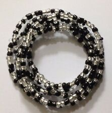 Beautiful Black and clear mix glass seed bead stretch bracelets multi strand