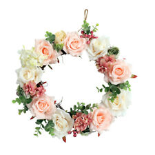 37cm Fake Rose Flower Door Wreath Wall Hanging Spring Floral Home Decor