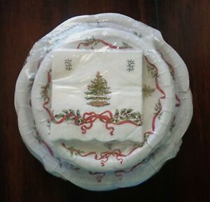 SPODE CHRISTMAS TREE PAPER DINNER PLATES LUNCHEON NAPKINS 56 pc SET SERVICE 8