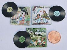 3 Schallplatten Märchen Miniatur 1:12 Puppenstube Puppenhaus Diorama
