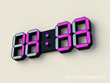 BLACK DESIGN DIGITAL COLOUR LEDs WALL CLOCK DESK BIG LARGE ALARM DATE NEW MODEL