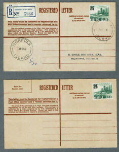 Norfolk Is 1966. 2 Registered Letters. 1 Mint & 1 Used.