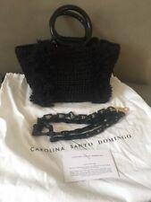 Carolina Santo Domingo Corallina Wool Ring-handle bag black/metallic retail $675
