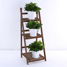 Folding 3 Tier Wooden Ladder Plant Flower Display Stand Book Shelf Storage Unit