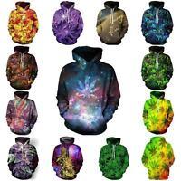 Galaxy Weed Leaf Graphic 3d Print Hoodie Hip Hop Unisex Funny Hoody Sweatshirt