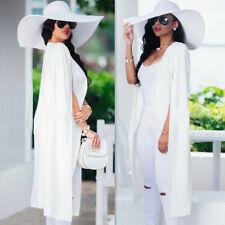 UK Womens Long Cloak Jacket Loose Cape Cardigan Blazer Trench Coat Party Outwear