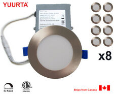 """YUURTA (8-pack) 4"""" 10W Dimmable LED Recessed Ceiling Downlight Brushed Nickel"""