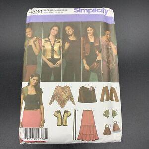 Simplicity Sewing Pattern #4334 Misses Skirt Jacket Shrug Poncho Scarf Bag 14-22