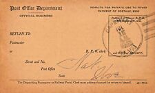 CAPEHART WV-1943 PSMK UNITED STATES POST OFFICE-REGISTRY DISPATCH RECEIPT CARD