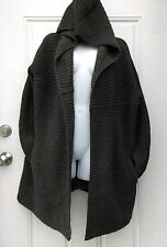 VINCE Dark Gray Merino Wool/Alpaca Knit Open Cardigan Hooded Sweater Size Medium